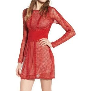 FREE PEOPLE Cherry Red Mesh Lace Long Sleeve Dress